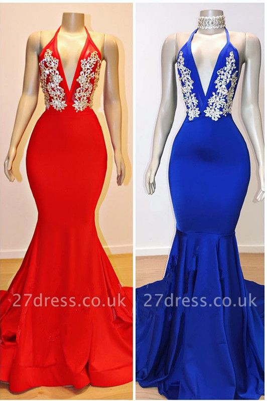 Sexy V-Neck Elegant Trumpt Lace Appliques Prom Dress UKes UK UK | Sexy Halter Sleeveless Evening Dress UKes UK