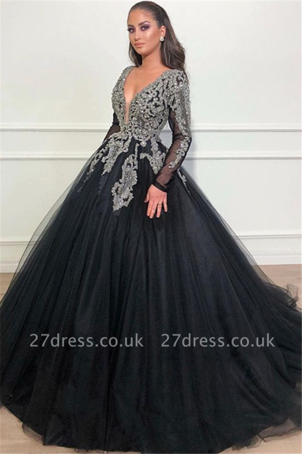 Timeless Black Ball Gown Seductive Deep Sexy V-Neck Long Sleeves Lace Appliques Overskirt Affordable Evening Dress UKes UK UK