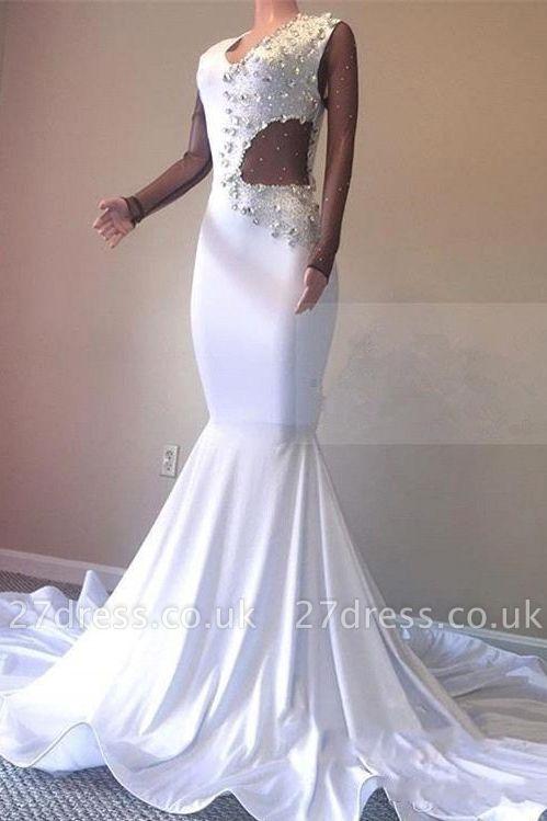 Crystal Beading White V-neck Sweep Train Elegant Trumpt Evening Dress UKes UK