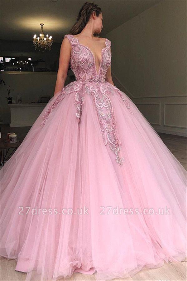 Amazing Pink Ball Gown Seductive Deep Sexy V-Neck Sleeveless Applique Affordable Evening Dress UKes UK UK