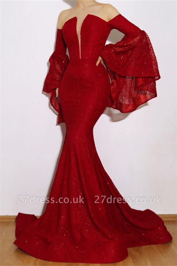 New Arrival red Elegant Mermaid Off The Shoulder Lace Appliques Prom Dress UKes UK UK