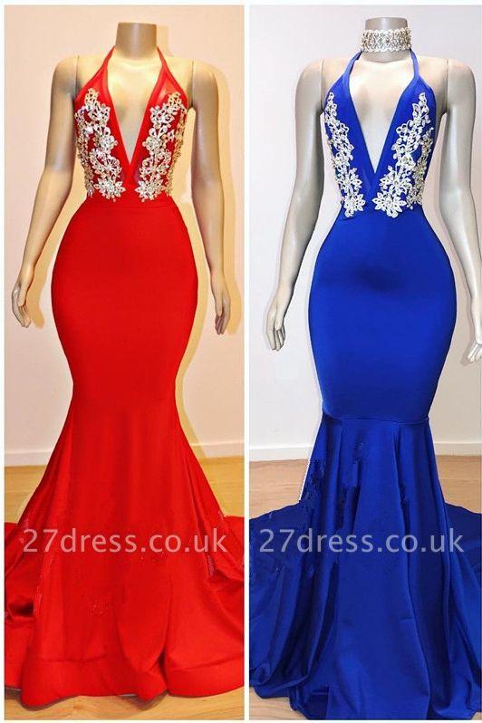 Halter V-neck Lace Appliqued Elegant Trumpt Long Eveing Gowns