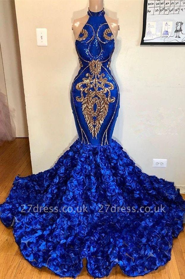 Royal Blue Halter Elegant Trumpt Prom Dress UKes UK UK   Luxury Sleeveless Florals Long Evening Dress UKes UK