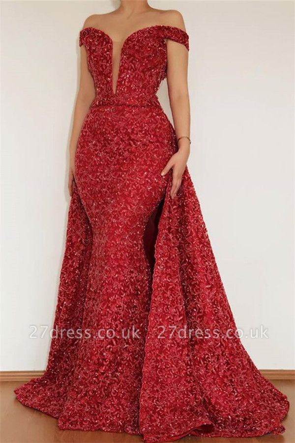 Burgundy Maroon Amazing Elegant Mermaid Off The Shoulder Lace Appliques Prom Dress UK With Detachable Skirt