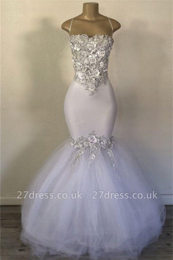 Elegant Mermaid Strapless Tulle Applique Timeless Prom Dress UKes UK UK