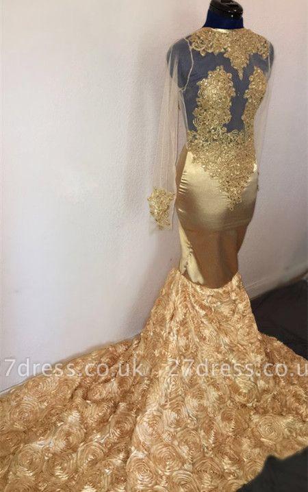 Elegant Hot Mermaid with Sleeves Flower Applique Champagne Prom Dress UKes UK UK