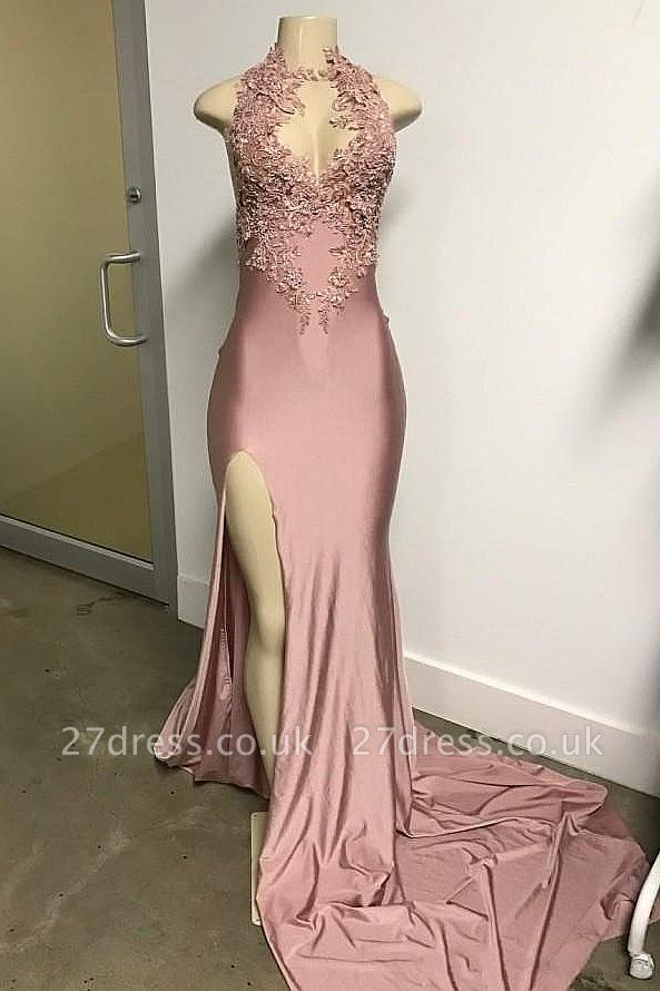 Pink Sleeveless Front Slit Appliqued Long Elegant Mermaid Prom Dress UKes UK UK