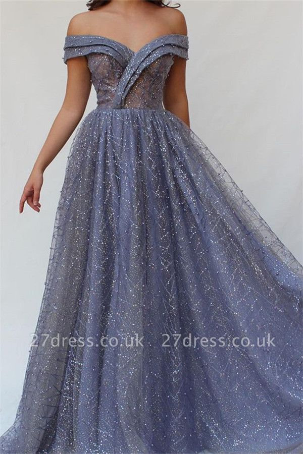 Luxury A-Line Off The Shoulder Tulle Beads Prom Dress UKes UK UK