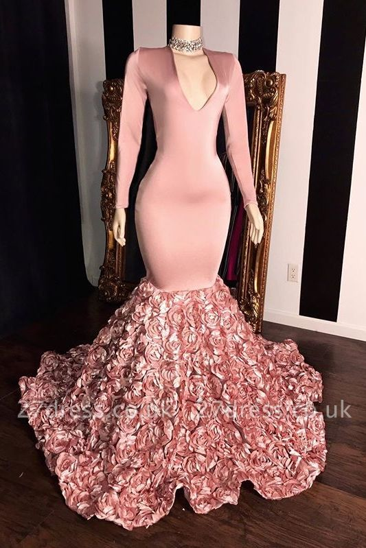 Sweet Pink Long Sleeves Florals Elegant Trumpt Prom Gowns | Sexy V-Neck Evening Dress UK