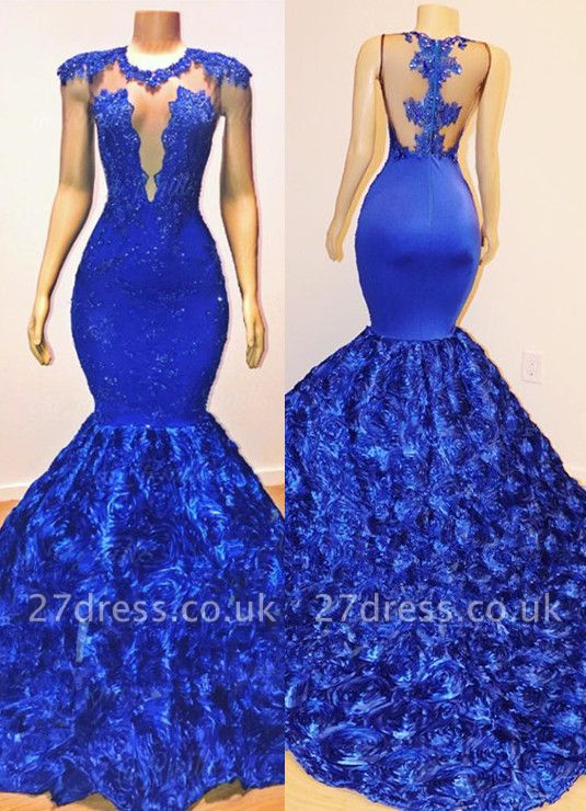 Elegant Royal Blue Florals Elegant Trumpt Prom Dress UKes UK UK | Lace Appliques Sleeveless Sheer Evening Dress UK BC1059