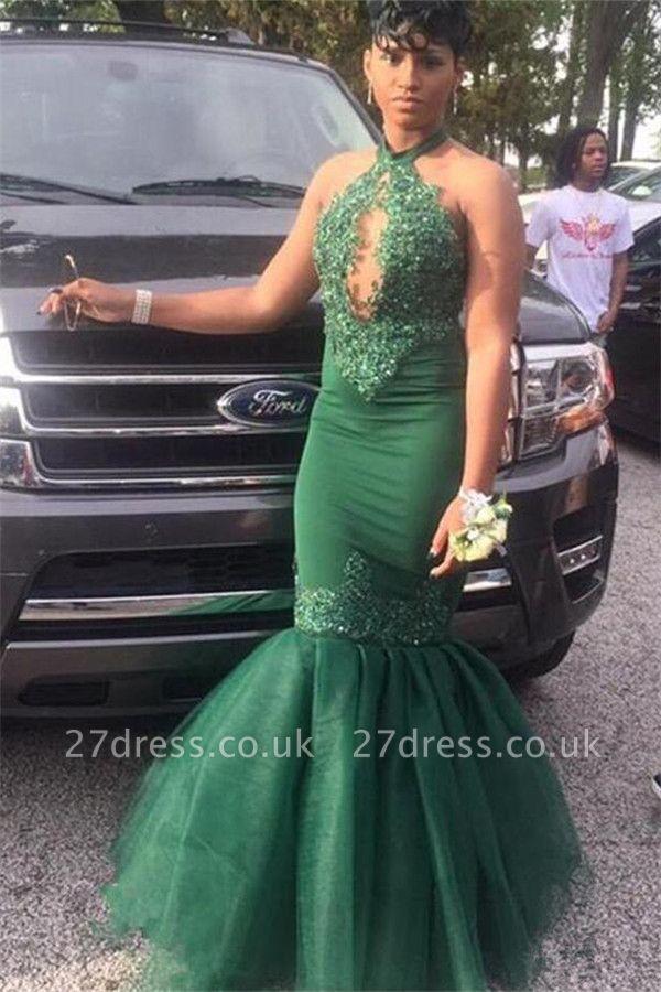 Dark Green Halter Lace Appliques Elegant Trumpt Evening Dress UKes UK | Sexy Keyhole Sleeveless Tulle Prom Dress UKes UK UK