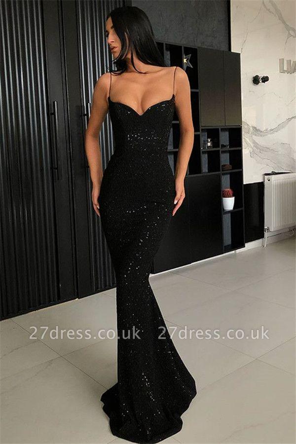 Timeless Black Column Spaghetti Straps Open Back Sequin Prom Dress UKes UK UK