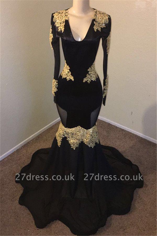 Timeless Black Elegant Mermaid V-neck with Sleeves Gold Appliques Evening Dress UK