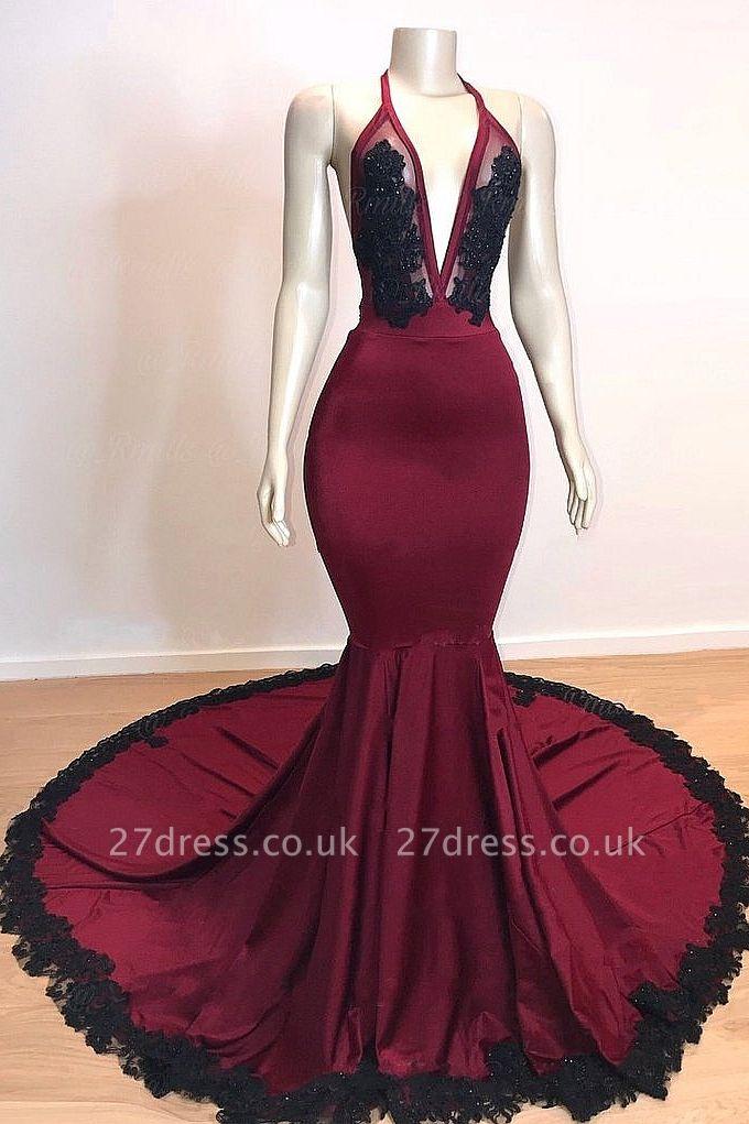 Wine Red Maroon V-neck Halter Lace Appliques Long Elegant Trumpt Evening Dress UKes UK
