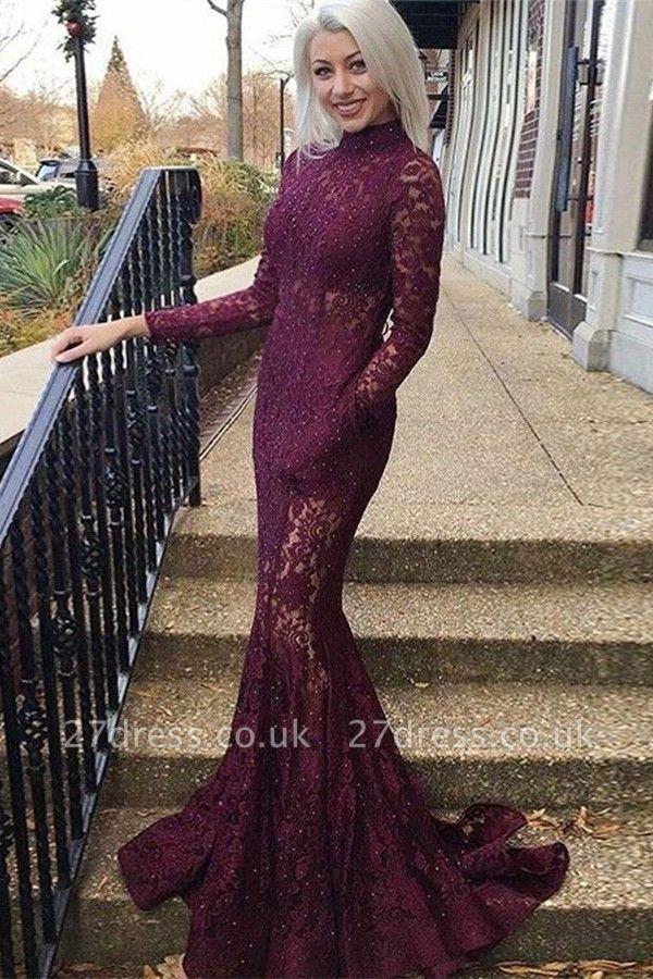 Luxury Elegant Mermaid High Neck Long Sleeves Lace Prom Dress UKes UK UK
