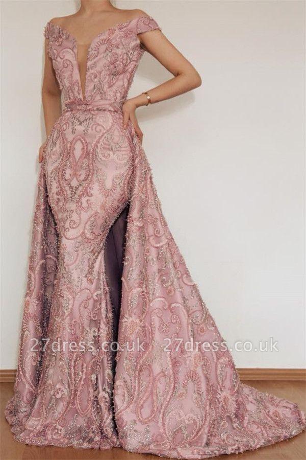 Luxury Elegant Mermaid Off The Shoulder Applique Long Pink Affordable Evening Dress UKes UK UK With Detachable Skirt