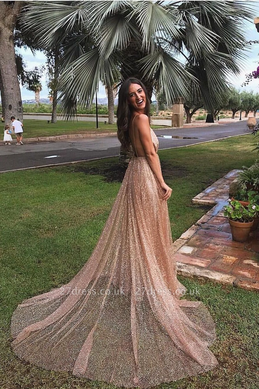 Simple Sequins A-Line Long Prom Gowns | Spaghetti Straps V-Neck Evening Dress UK