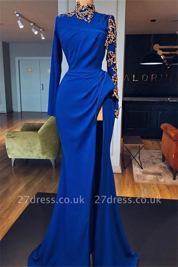 Royal Blue High Neck Side Slit Elegant Trumpt Prom Dress UKes UK UK | Sexy Long Sleeves Lace Appliques Evening Dress UKes UK