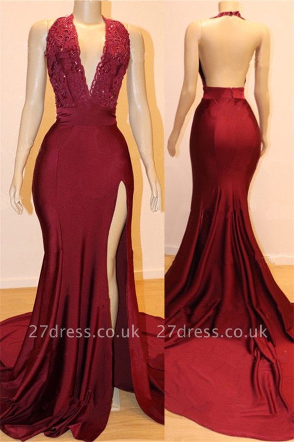 Elegant Backless Burgundy Maroon Prom Dress UKes UK UK with Slit | Sexy V-Neck Halter Affordable Evening Gowns with Court Train
