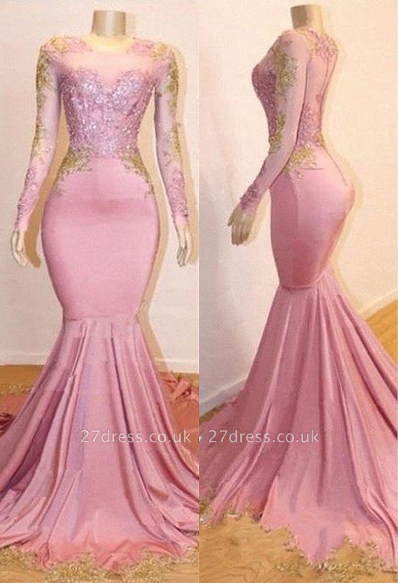 Sweet Pink Lace Appliques Long Sleeves Prom Dress UKes UK UK | Luxury Elegant Trumpt Evening Dress UKes UK