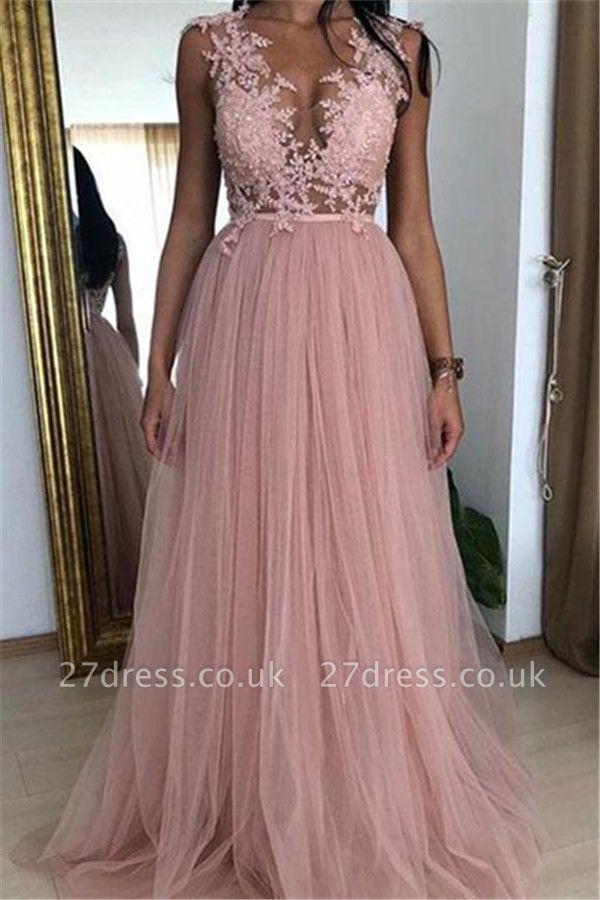 Sexy Pink A-line Sleeveless Tulle Applique Prom Dress UKes UK UK