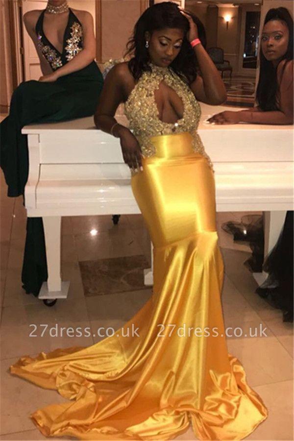 Simple Halter High-Neck Lace Appliques Sexy Prom Dress UKes UK UK | Elegant Sleeveless Keyhole Elegant Trumpt Evening Dress UKes UK