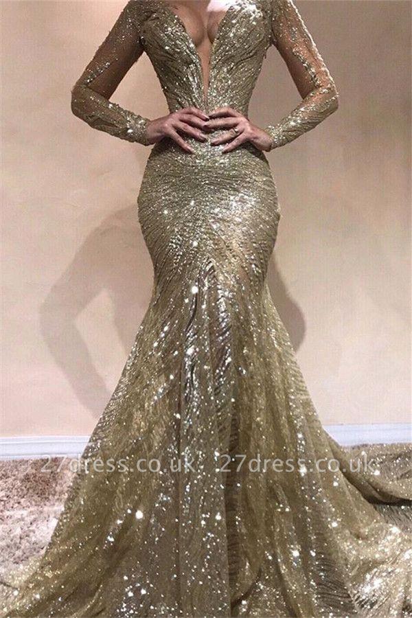 Sexy Elegant Mermaid Sexy V-Neck Long Sleeves Sequin Prom Dress UKes UK UK