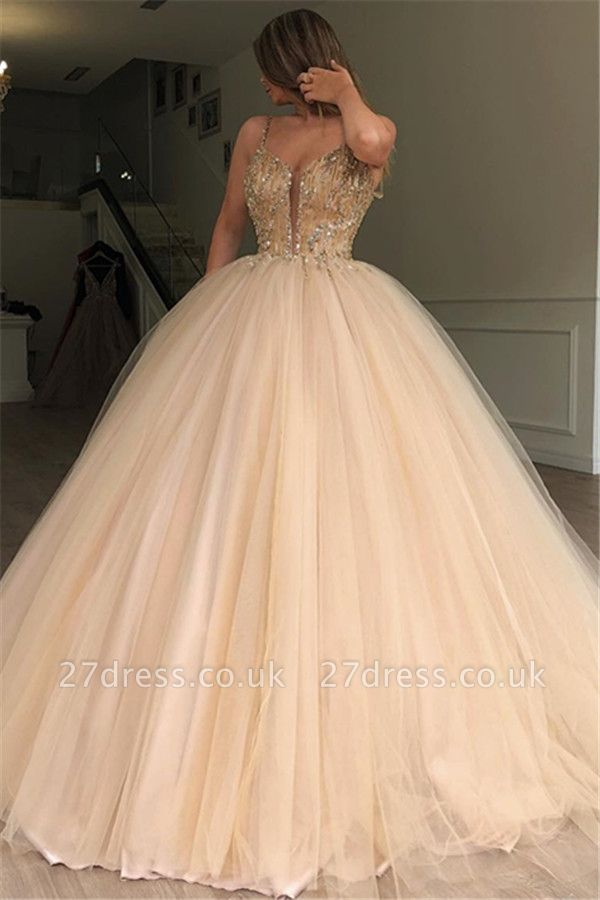Sexy Ball Gown Spaghetti Straps Sleeveless Beads Champagne Bridal Gowns