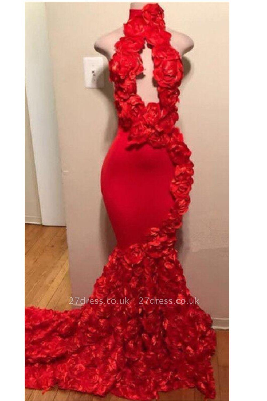 Elegant Florals Halter Sleeveless Long Prom Dress UKes UK UK | Red Keyhole Elegant Trumpt Evening Dress UKes UK