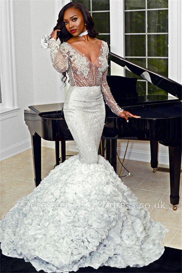 Sexy Elegant Mermaid Sexy V-Neck Flower Lace Appliques Long Sleeves Prom Dress UKes UK UK