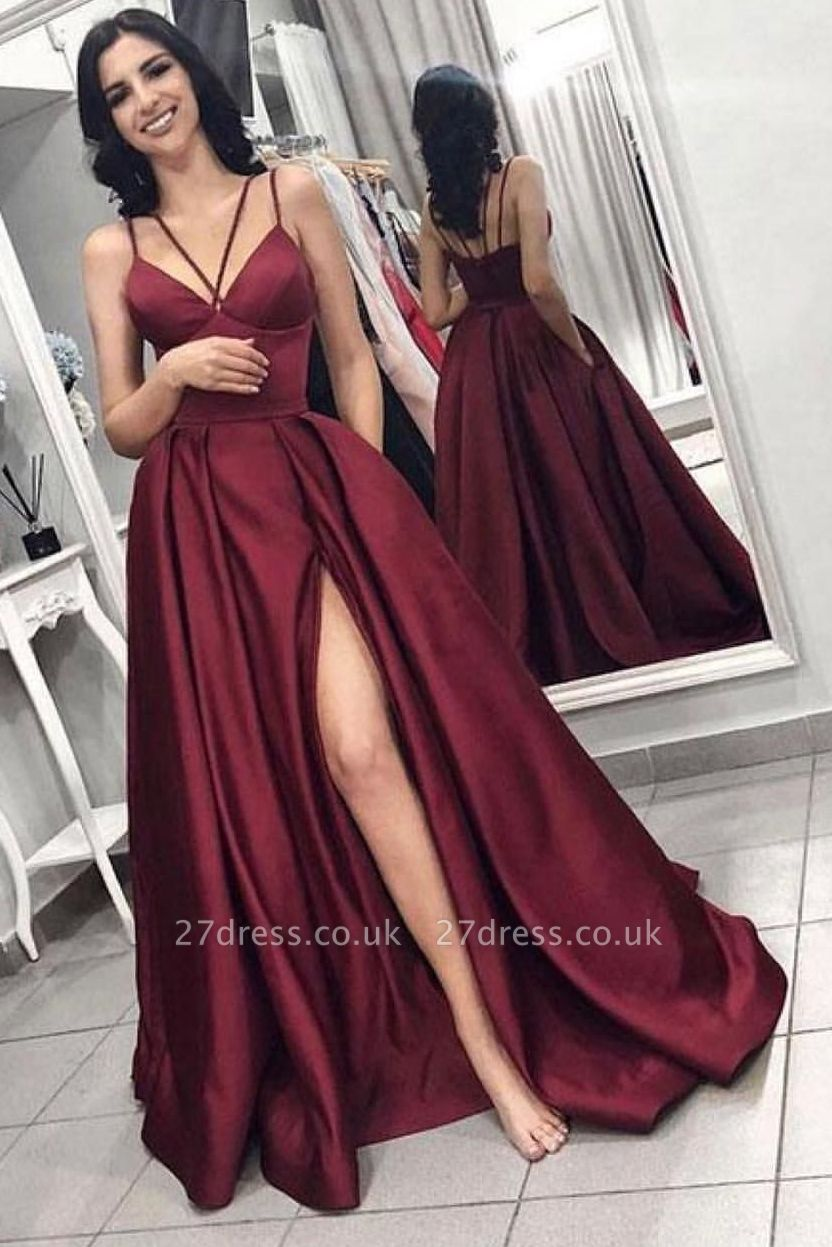Elegant Sleeveless Front Split Prom Gown | Wine Red Maroon Spaghetti-Straps A-Line Evening Dress UK