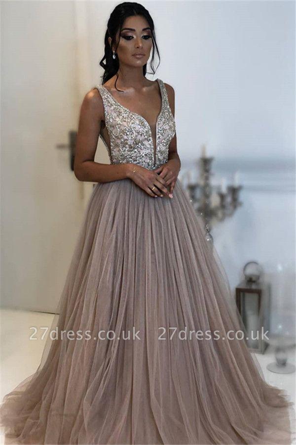 Sexy A-line Sleeveless Applique Tulle Affordable Evening Dress UKes UK UK