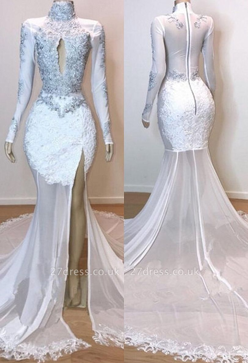 White Stunning Lace Long Sleeves Prom Dress UKes UK UK | Sheer Tulle Slit Elegant Trumpt Evening Dress UKes UK