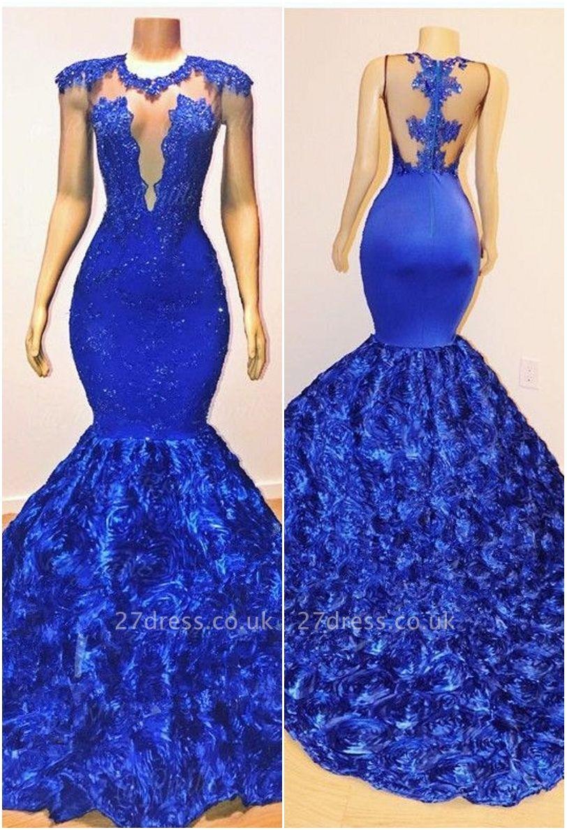 Royal-Blue Florals Elegant Trumpt Long Evening Dress UKes UK | Simple Sleeveless With Lace Appliques Prom Dress UKes UK UK
