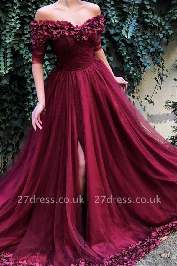Burgundy Maroon A-line Off The Shoulder Tulle Flower Applique Prom Dress UKes UK UK