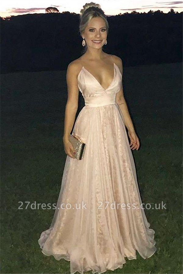 Luxury A-Line Sexy V-Neck Spaghetti Straps Sleeveless Tulle Affordable Evening Dress UKes UK UK