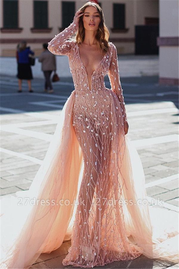 Sexy Pink Elegant Mermaid Seductive Deep Sexy V-Neck Long Sleeves Sparkly Crystal Prom Dress UKes UK UK With Detachable Skirt