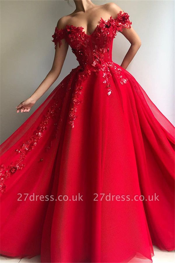 Amazing Ball Gown Off The Shoulder Applique Flowers Affordable Evening Dress UKes UK UK