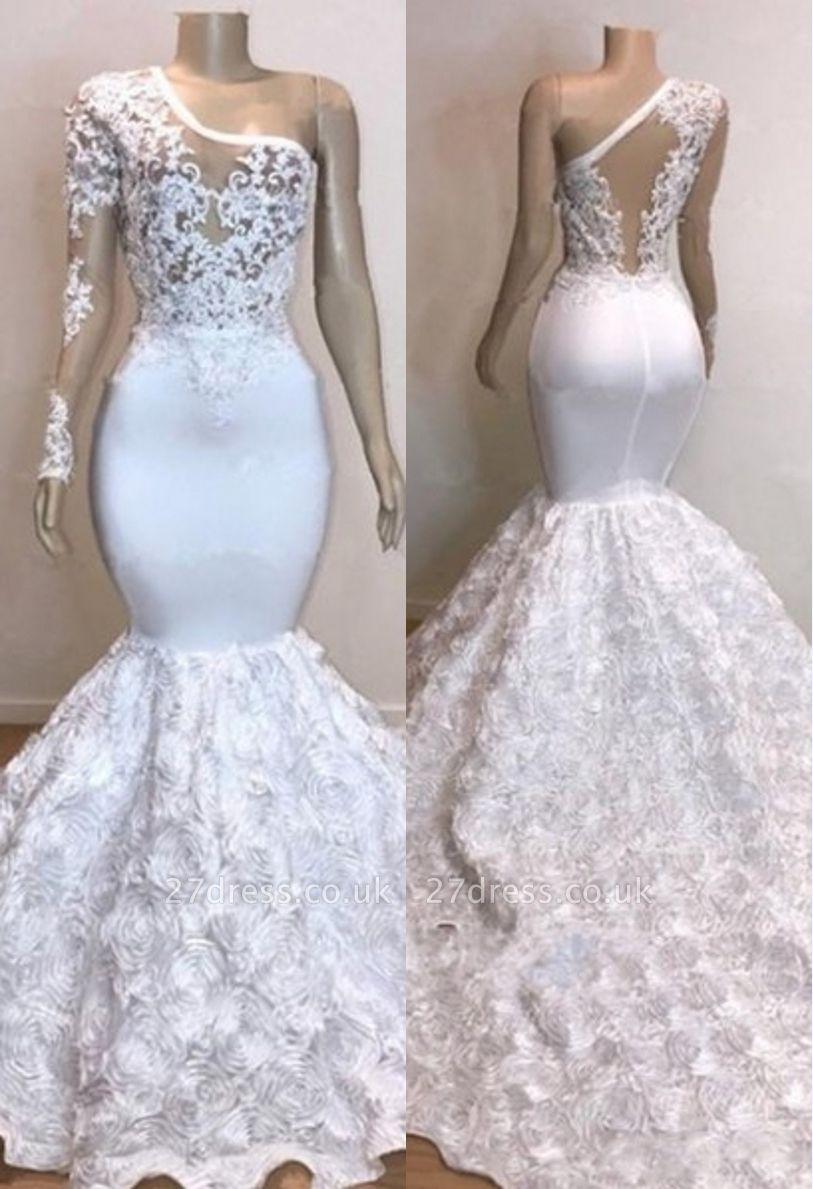One Shoulder Lace Appliques Meramid Prom Dress UKes UK UK with sleeve