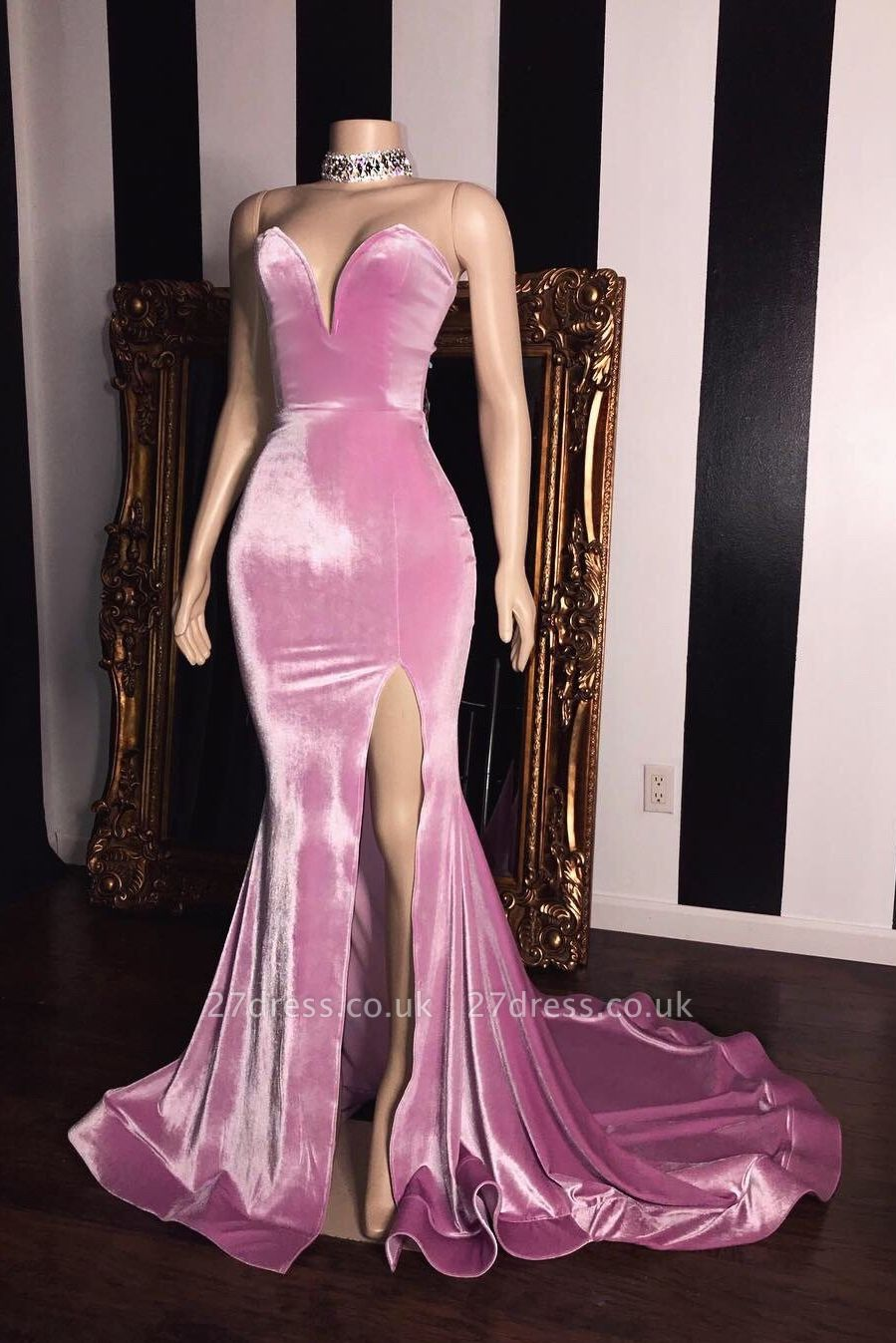 Sweet Pink Velvet StraplessProm Dress UKes UK UK | Sexy Side Slit Elegant Trumpt Long Evening Dress UKes UK