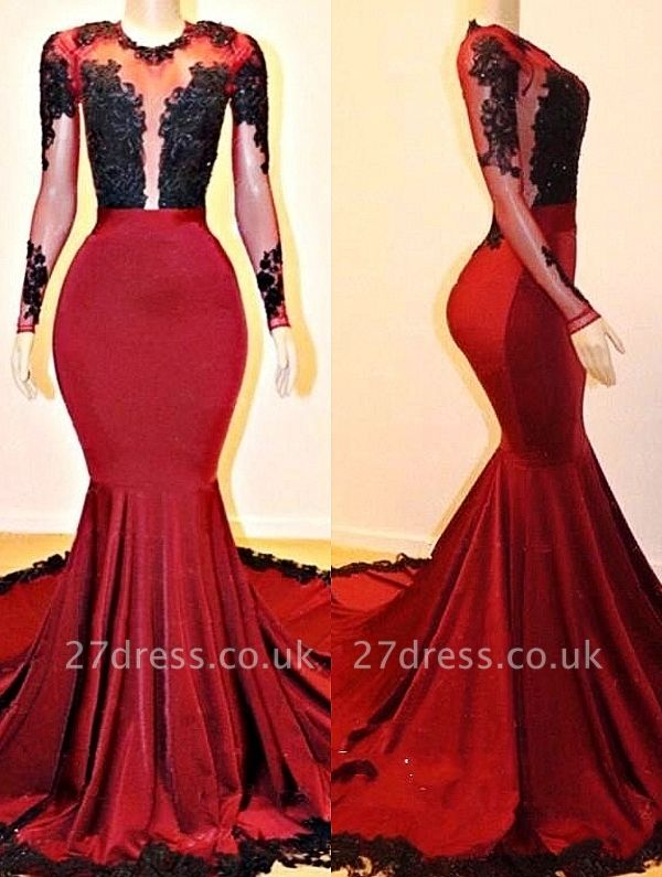 Long Sleeves Elegant Mermaid Lace Appliques Sheer Prom Dress UKes UK UK