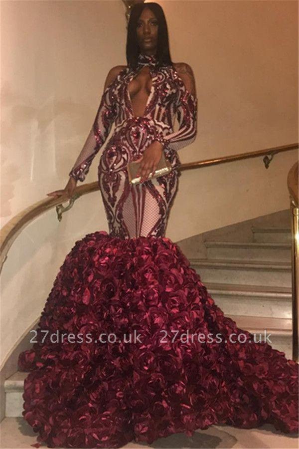 Elegant Burgundy Maroon High Neck Long Sleeves Flower Applique Elegant Mermaid Prom Dress UKes UK UK