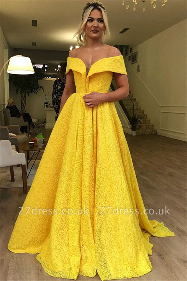 Luxury A-Line Off The Shoulder Lace Yellow Affordable Evening Dress UKes UK UK