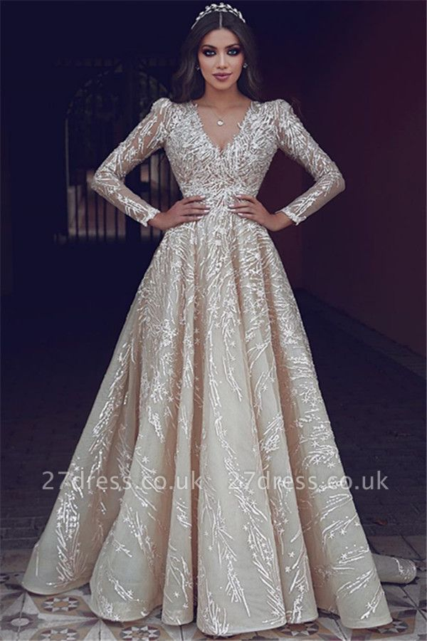 Elegant Long Sleeve Evening Dresses UK | Appliques V-neck New Arrival Prom Dresses