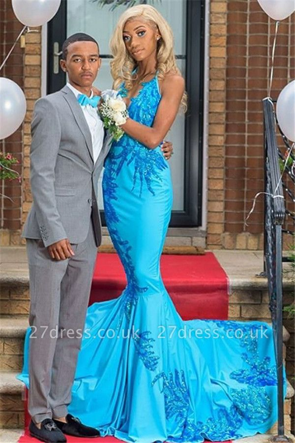 Sexy Lace Appliques Elegant Trumpt Prom Dress UKes UK UK | Elegant Blue Halter Sleeveless Evening Dress UKes UK