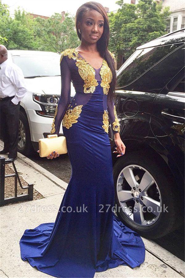 Amazing Elegant Mermaid Sexy V-Neck Long Sleeves Velvet Gold Lace Appliques Prom Dress UKes UK UK