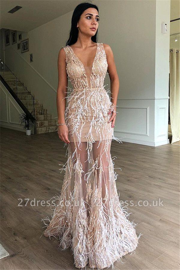Luxury A-Line Sleeveless Sheer Tulle Luxury Feather Prom Dress UKes UK UK