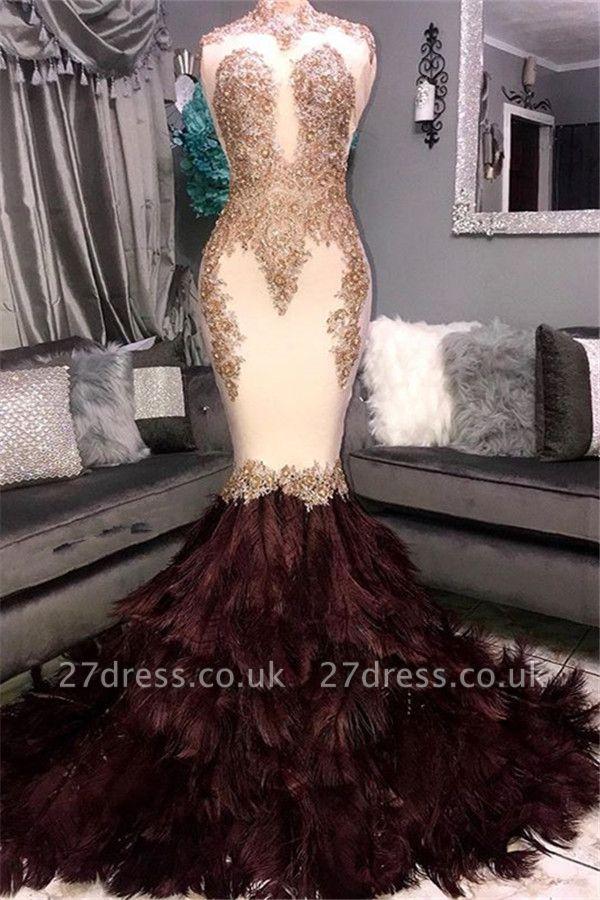 Luxury Elegant Mermaid High Neck Sleeveless Fur Lace Appliques Prom Dress UKes UK UK