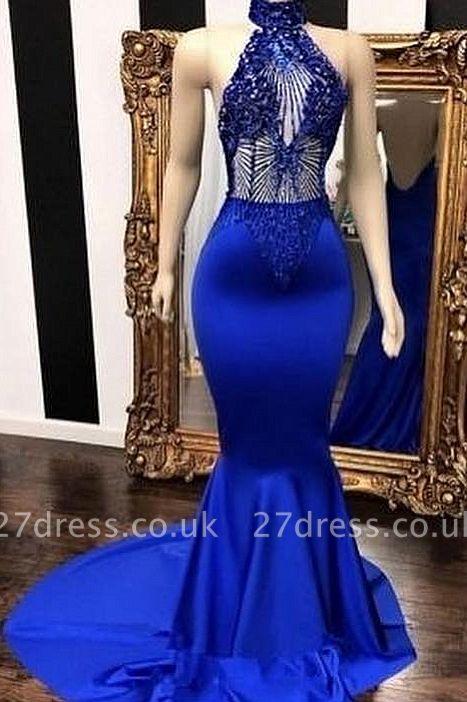 Royal Blue Halter Sleeveless Lace Beading Elegant Trumpt Long Prom Dress UKes UK UK