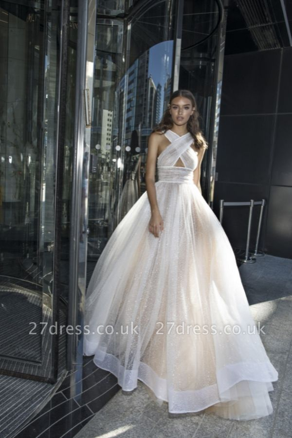 Chic A-line Sleeveless Cross-Back Long Sexy Prom Dress UK in Affordable price